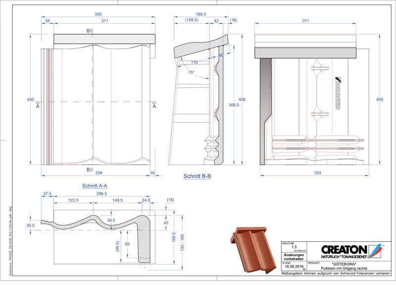 Súbor CAD škridly GÖTEBORG pultová škridľa krajná pravá PultOGR