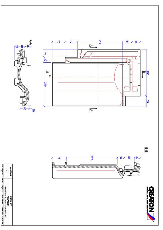 Súbor CAD škridly SINFONIE podhrebeňová vetracia škridľa FALZ