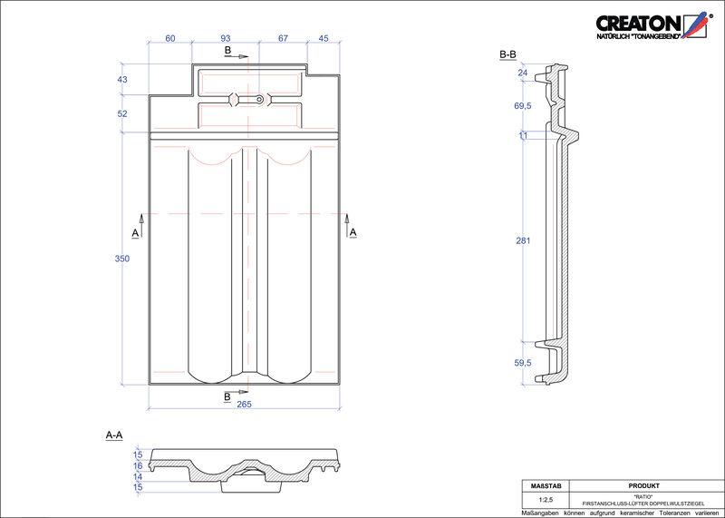 Súbor CAD škridly RATIO podhrebeňová vetracia škridľa s dvojitou vlnou FALDWZ