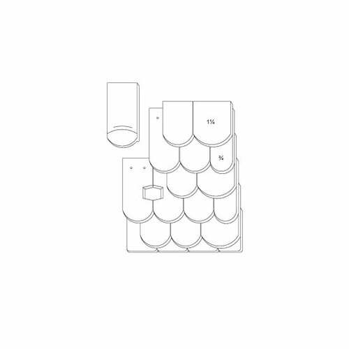 Technický výkres škridly KLASSIK OGAusbildung-Doppeldeckung-3-4-1-1-4-Traufziegel
