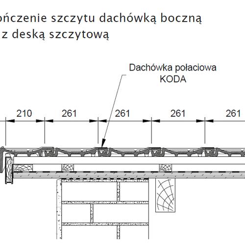 Technický výkres - Dokončenie štítu ľavou krajnou škridlou so štítovou doskou