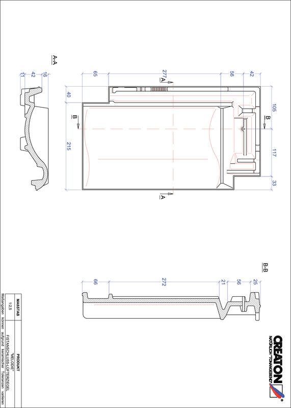 Súbor CAD škridly MELODIE podhrebeňová vetracia škridľa FALZ