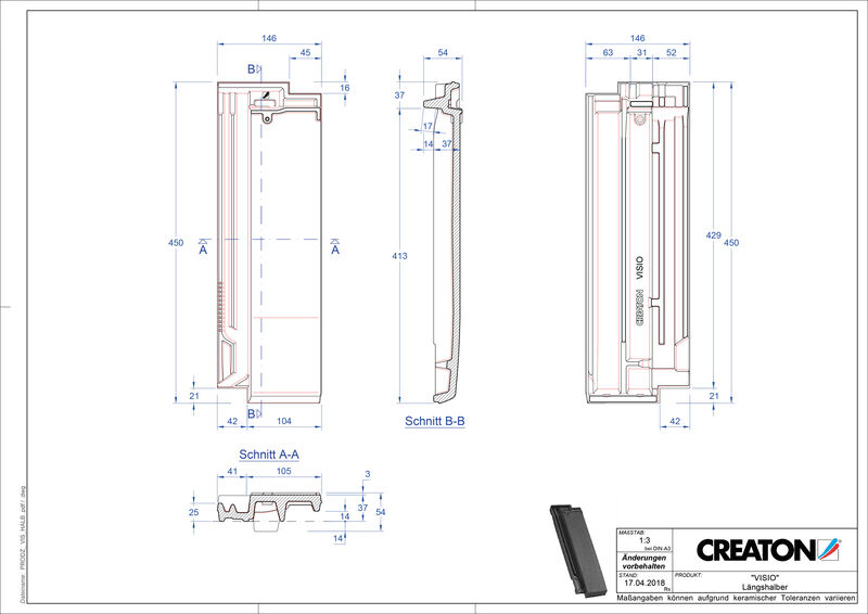 Súbor CAD škridly VISIO polovičná škridľa LH