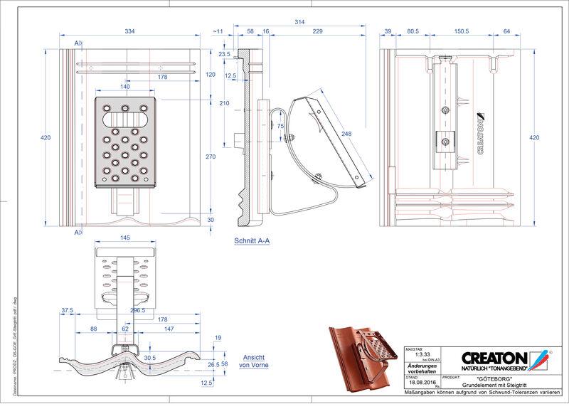 Súbor CAD škridly GÖTEBORG základná škridľa Steigtritt