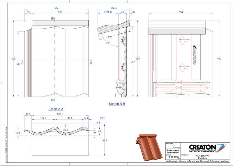 Súbor CAD škridly GÖTEBORG pultová škridľa PULTSTEIN