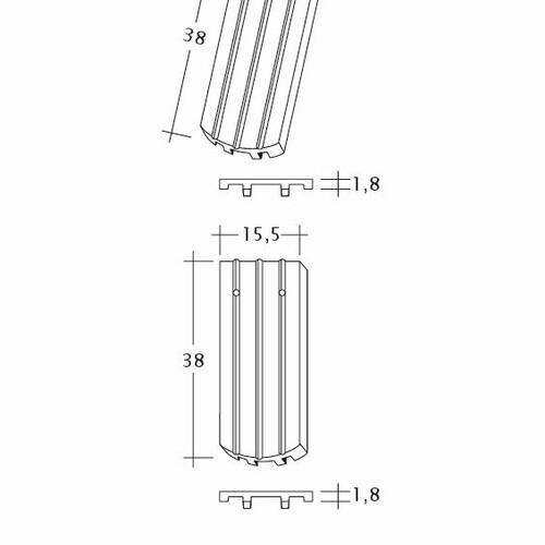 Technický výkres škridly PROFIL Kera-Saechs-15cm-FlaechenLUEFTZ