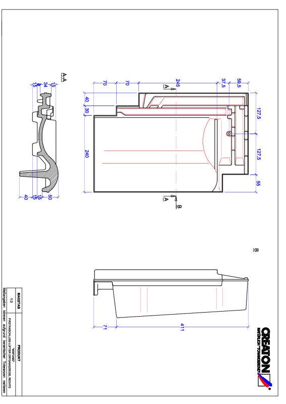 Súbor CAD škridly SINFONIE podhrebeňová vetracia škridľa krajná pravá FALOGR
