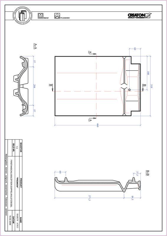 Súbor CAD škridly PREMION podhrebeňová vetracia škridľa s dvojitou vlnou FALDWZ