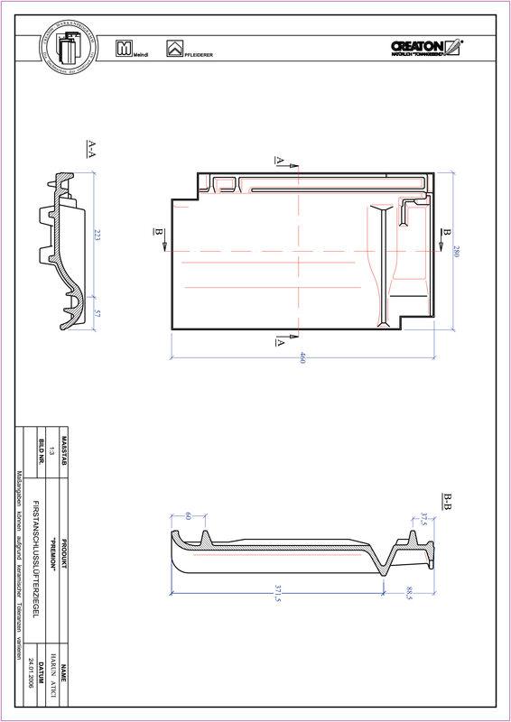 Súbor CAD škridly PREMION podhrebeňová vetracia škridľa  FALZ