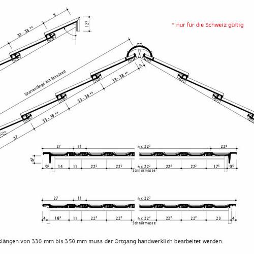 Technický výkres škridly OPTIMA Švajčiarsko OPTIMA