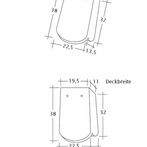 Technický výkres škridly KLASSIK OG-1-1-4
