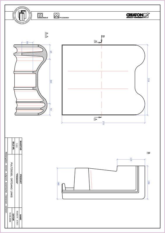 Súbor CAD škridly PREMION pultová škridľa krajná ľavá PULTOGL