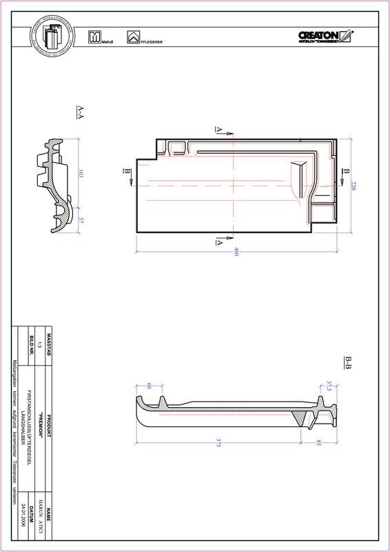Súbor CAD škridly PREMION polovičná vetracia hrebeňová škridla FALLH