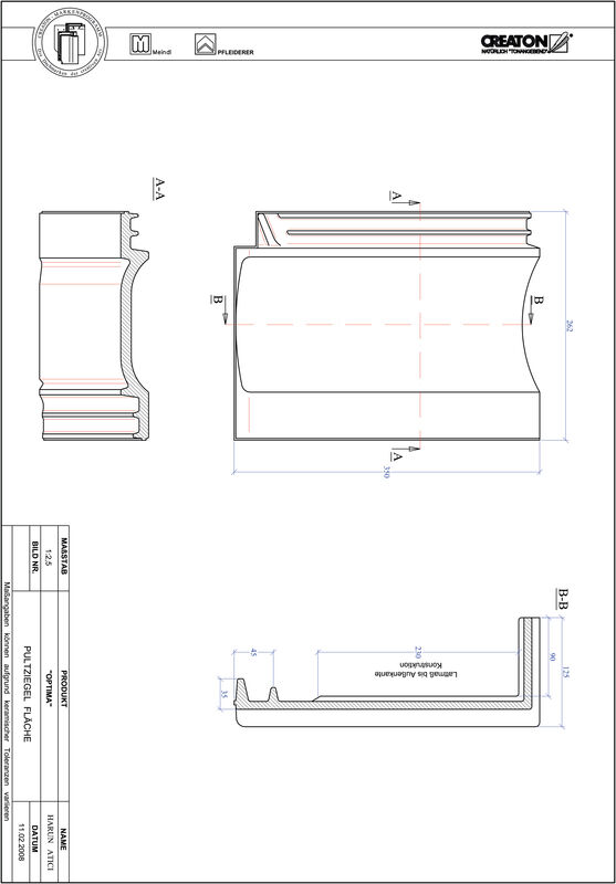 Súbor CAD škridly TERRA OPTIMA pultová škridľa PULTFLA