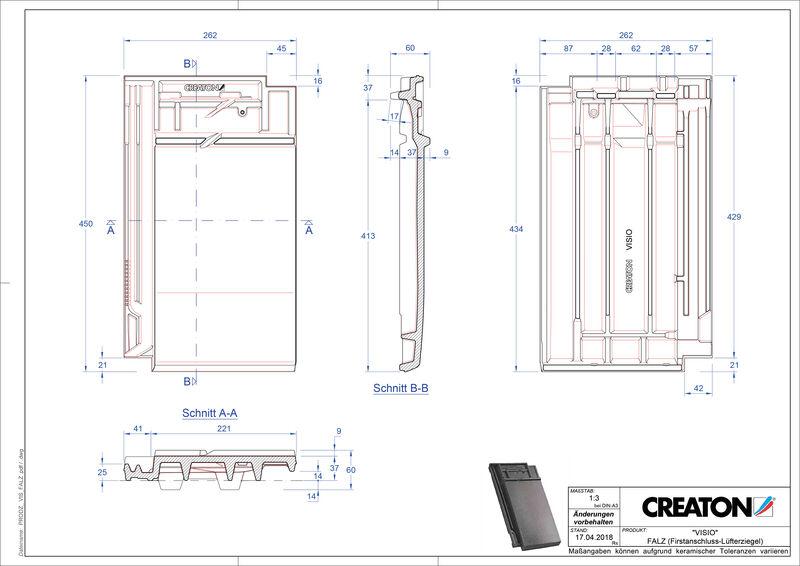 Súbor CAD škridly VISIO podhrebeňová vetracia škridľa FALZ