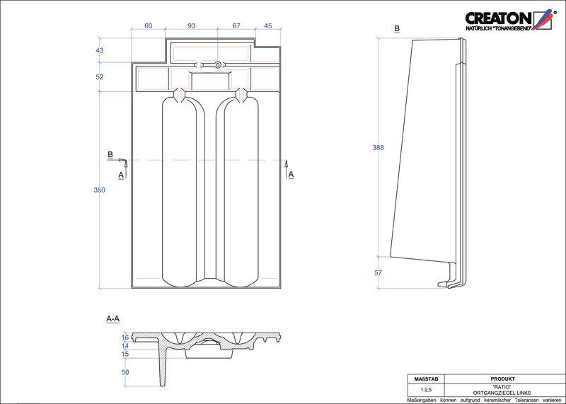 Súbor CAD škridly RATIO krajná škridľa ľavá OGL