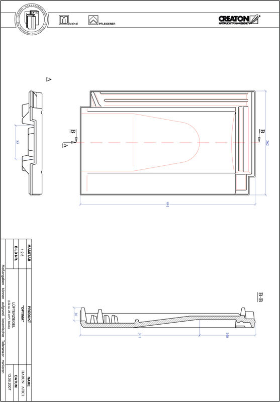 Súbor CAD škridly TERRA OPTIMA vetracia škridľa LUEFTZ