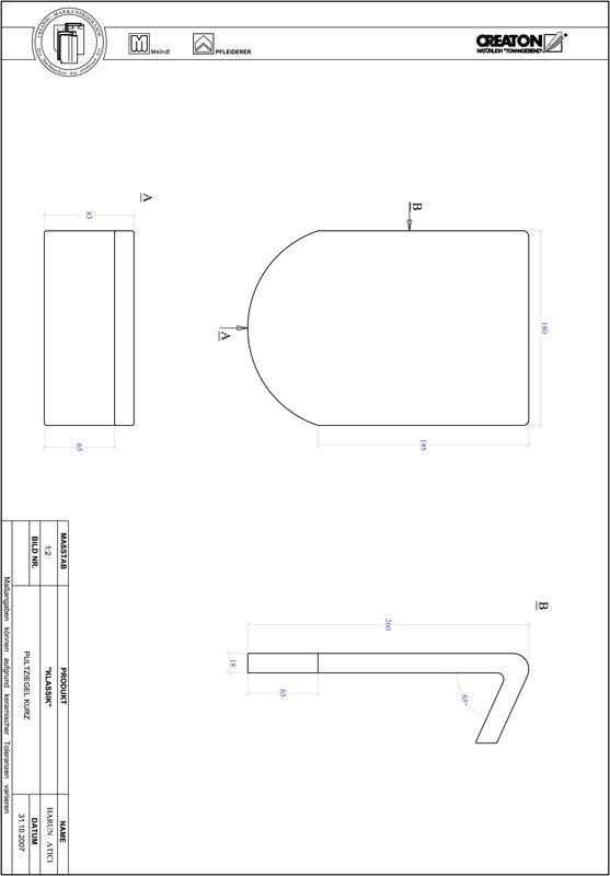 Súbor CAD škridly KLASSIK zaoblený vzor RUND-PULT-kurz1