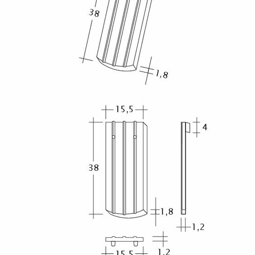 Technický výkres škridly PROFIL Kera-Saechs-15cm-1-1