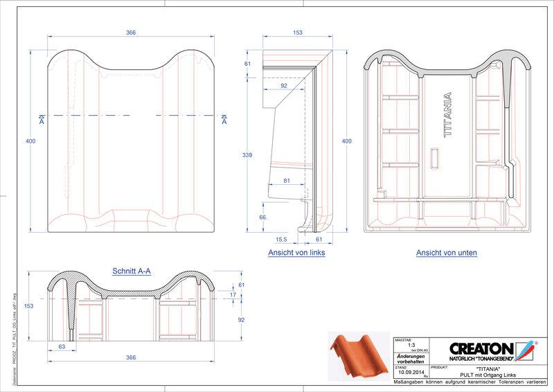 Súbor CAD škridly TITANIA pultová škridľa krajná ľavá PULTOGL