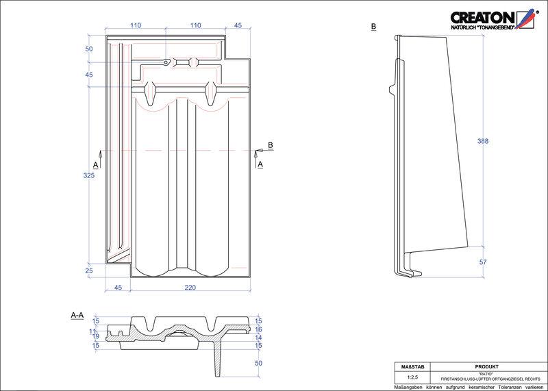 Súbor CAD škridly RATIO podhrebeňová vetracia škridľa krajná pravá FALOGR