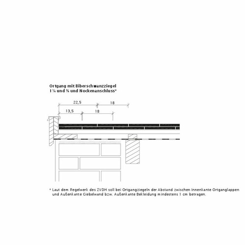 Technický výkres škridly KLASSIK OG-Ausbildung-Biber-3-4-1-4-Nockenanschluss