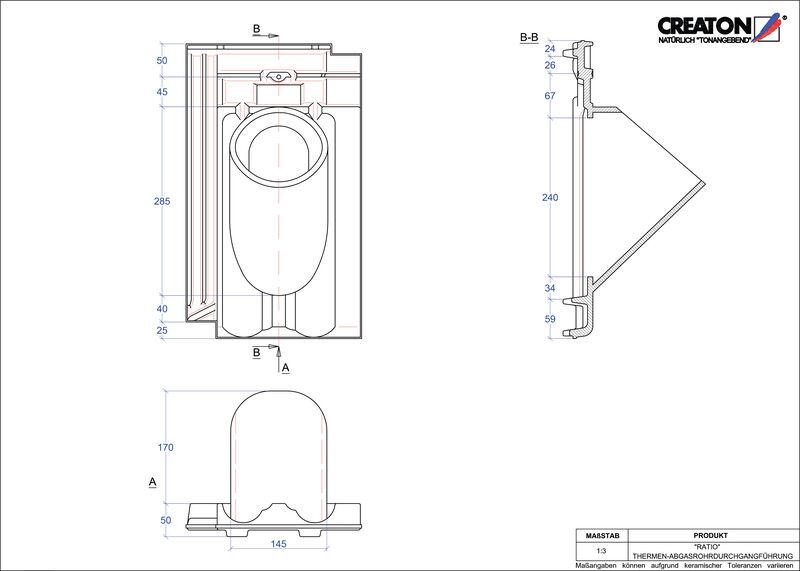 Súbor CAD škridly RATIO prestupová škridľa na odvod spalín THERME