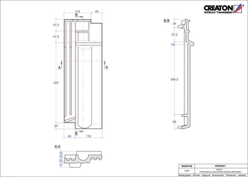 Súbor CAD škridly RATIO podhrebeňová vetracia škridľa polovičná FALLH
