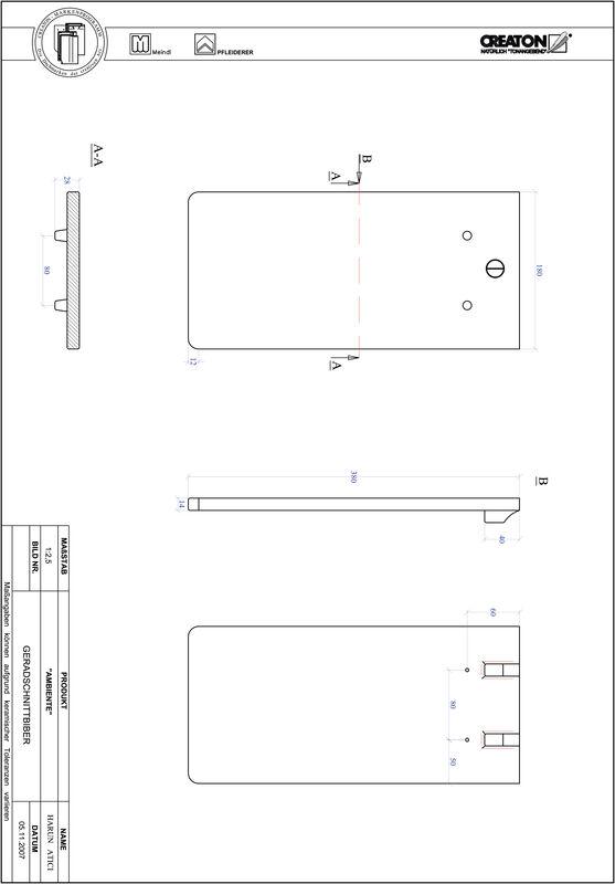 Súbor CAD výrobku AMBIENTE, rovný rez GER