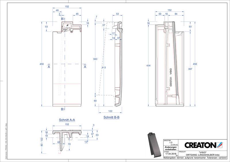 Súbor CAD škridly VISIO krajná škridľa polovičná ľavá LHOGL