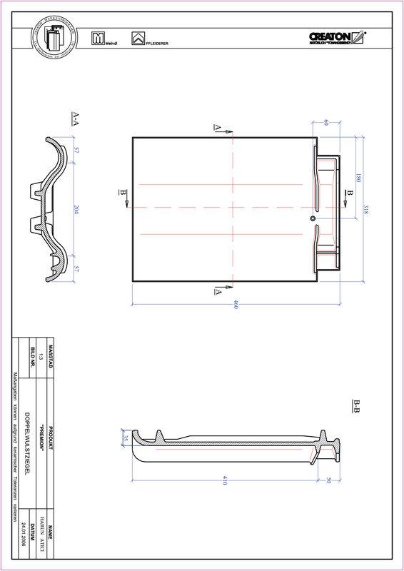 Súbor CAD škridly PREMION škridľa s dvojitou vlnou DWZ