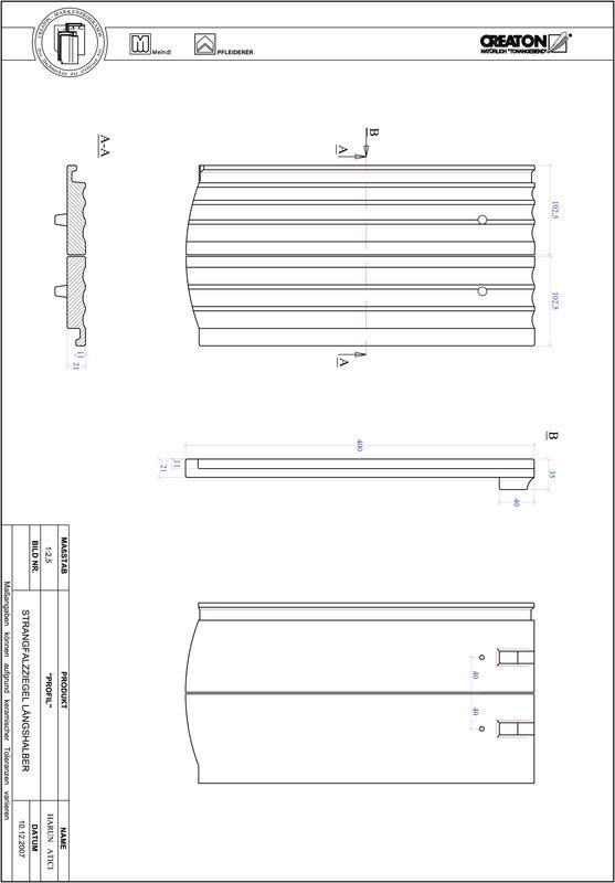 Súbor CAD škridly PROFIL segmentový vzor STRANGFALZ-GEWELLT-LH