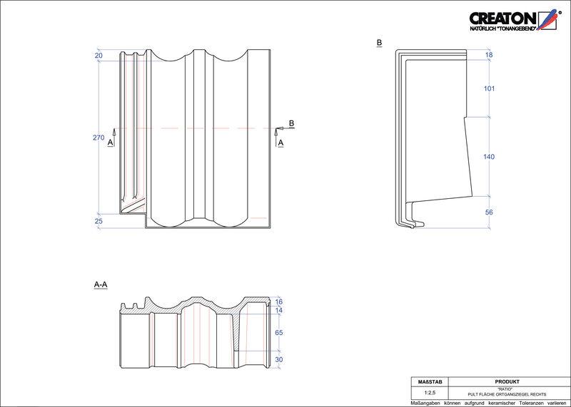 Súbor CAD škridly RATIO pultová škridľa krajná pravá PULTOGR