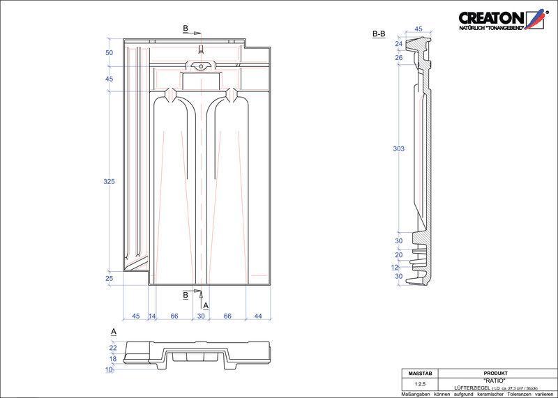 Súbor CAD škridly RATIO vetracia škridľa LUEFTZ