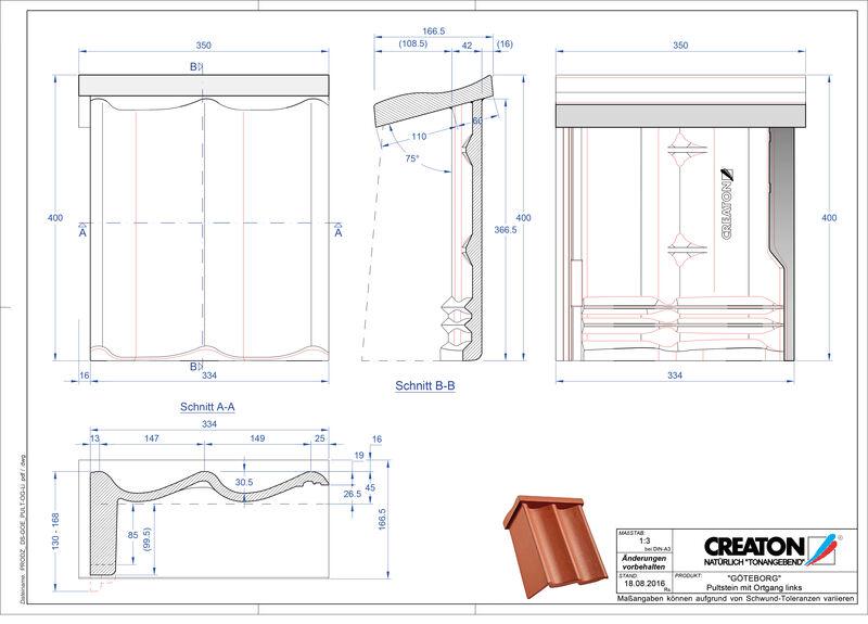 Súbor CAD škridly GÖTEBORG pultová škridľa krajná ľavá PultOGL