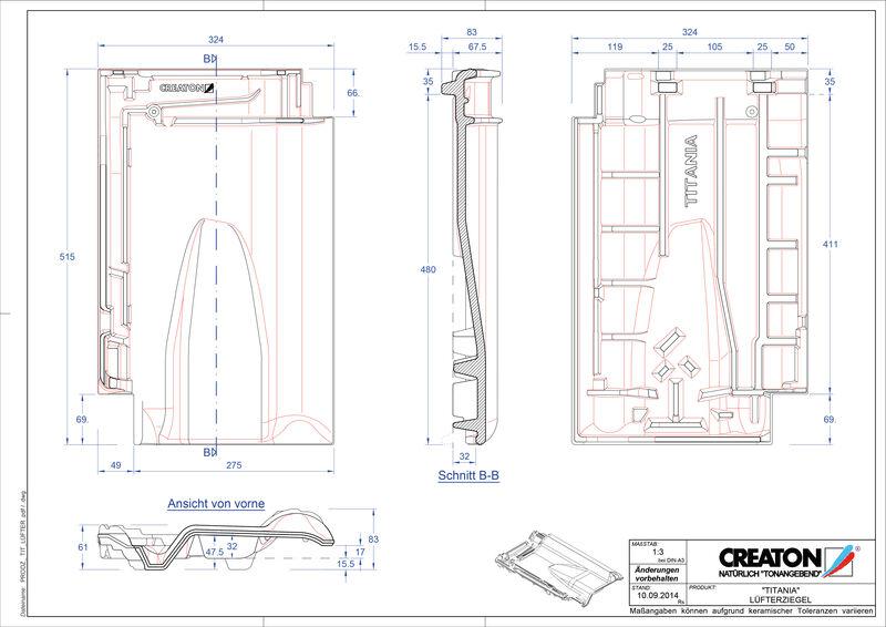 Súbor CAD škridly TITANIA vetracia škridľa LUEFTZ
