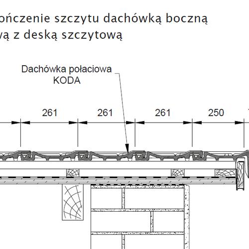 Technický výkres - Dokončenie štítu pravou krajnou škridlou so štítovou doskou