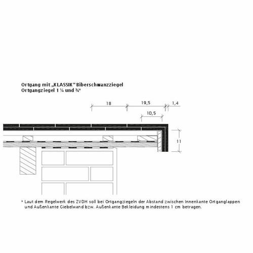 Technický výkres škridly KLASSIK OBR KLASSIK-3-4-1-4-Ortgang