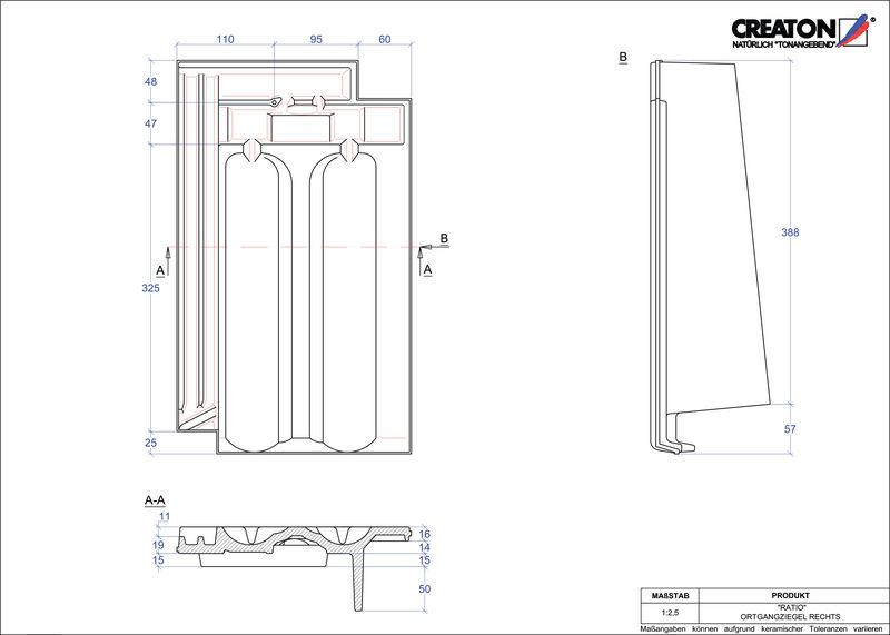 Súbor CAD škridly RATIO krajná škridľa pravá OGR