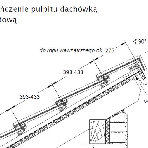 Technický výkres - Dokončenie strechy pultovou škridlou