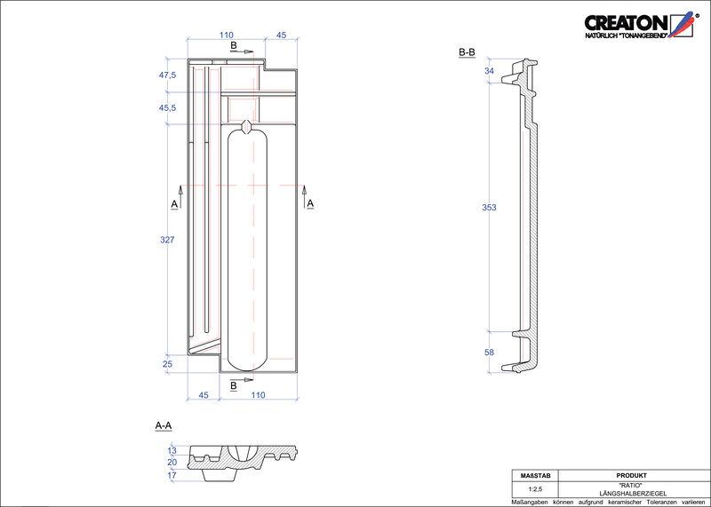 Súbor CAD škridly RATIO polovičná škridľa LH