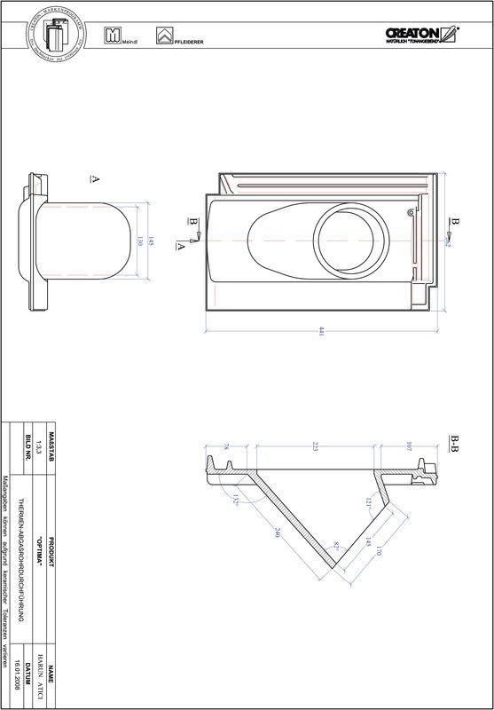 Súbor CAD škridly TERRA OPTIMA prestupová škridľa na odvod spalín THERME